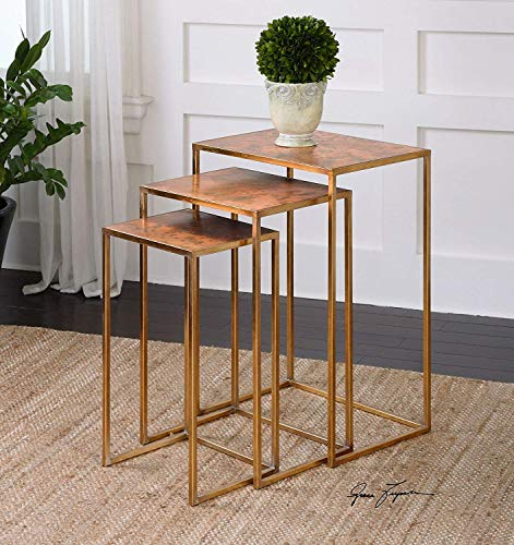 Intelligent Design Copper Gold Nesting End Table Set | Contemporary Metallic