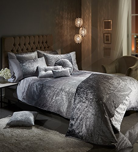 Viceroybedding OMBRE Crushed Velvet Diamante Bedding Bedroom Collection (Silver Grey Double Duvet Cover Set Including Pair of P/Cases)