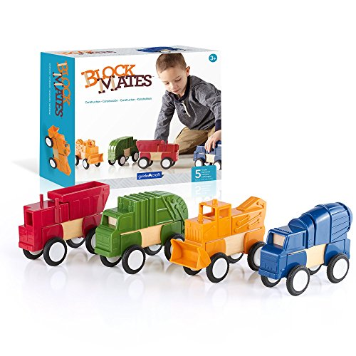 Guidecraft Block Mates - Construction Vehicles, Learning & Educational Toy for Kids