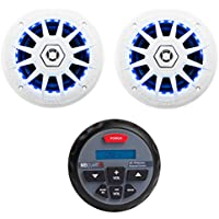 MB Quart Nautic GMR-1 Marine ATV Boat Bluetooth Gauge Receiver + 2) LED Speakers