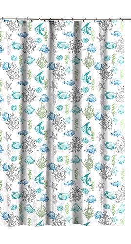 - Deep Sea Fabric Shower Curtain: Ocean Life Fish Theme, Teal Blue Green Grey White, 70
