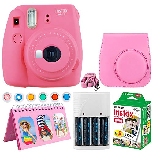 Fujifilm Instax Mini 9 Instant Camera (Flamingo Pink) + Fujifilm Instax Mini Twin Pack Instant Film (20 Exposures) + Camera Case + Scrapbooking Album + 4 AA Batteries & Charger + Colored Lens Filters