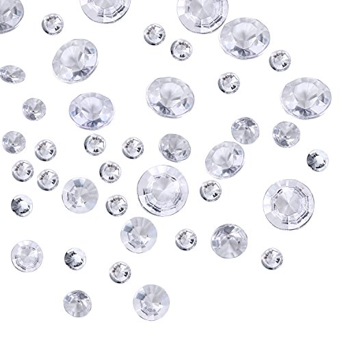 Price comparison product image Outus 3800 Pieces Clear Wedding Table Scattering Crystals, 4 Sizes Artificial Acrylic Diamonds, Table Decoration for Birthday Baby Shower Party