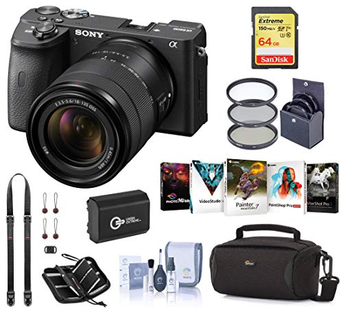 Sony Alpha a6600 Mirrorless Digital Camera with 18-135mm Lens Starter Bundle with Bag, Battery, 64GB SD Card, Neck Strap and Accessories