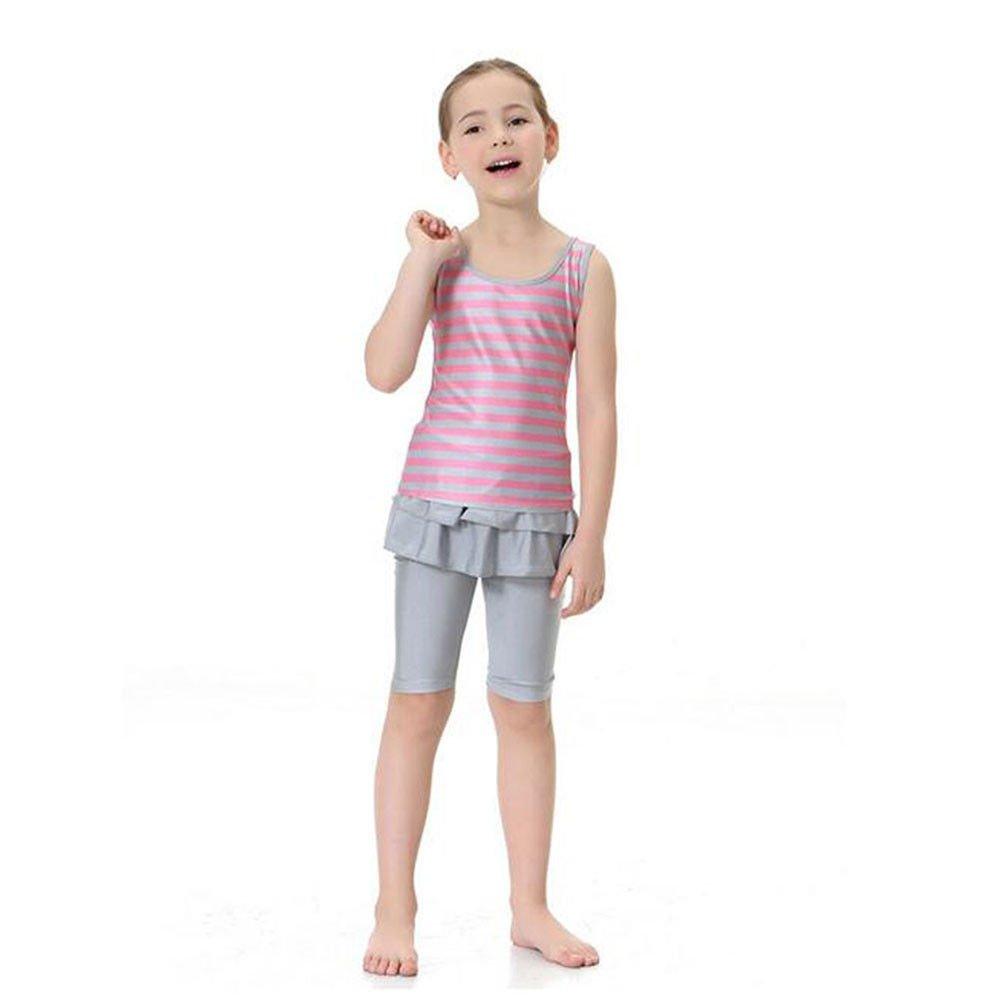 Meijunter Muslim Islamic 2-Pieces Stripe Swimsuit Arab Burkini Swimwear For Kids
