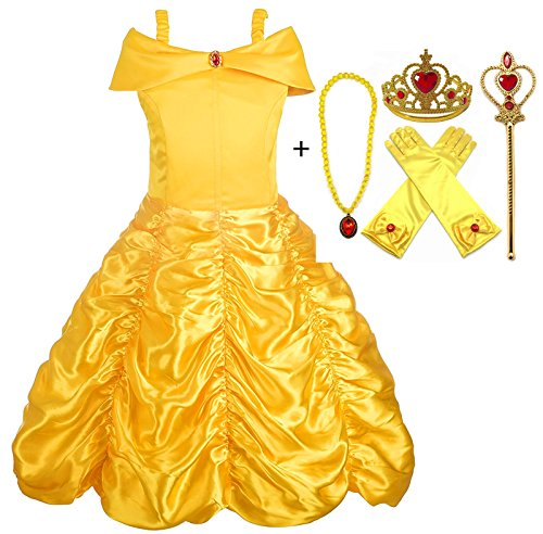 Cheap Alead Princess Costume Belle Dress and Accessories Gloves, Tiara, Wand and Necklace for cheap