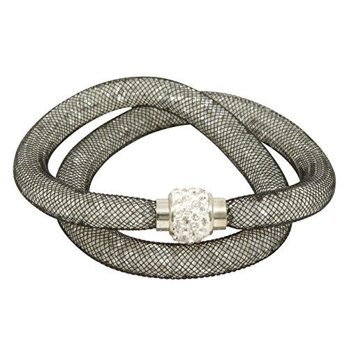 Crystal Sparkling Dust Bracelet, Double Grey (Magnetic Wrap Bracelet Choker)