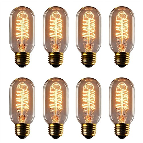 Vintage Edison Bulb - 25 Watt - T45 - Squirrel Cage Filament - Dimmable - 8 Pack - 65 Lumen