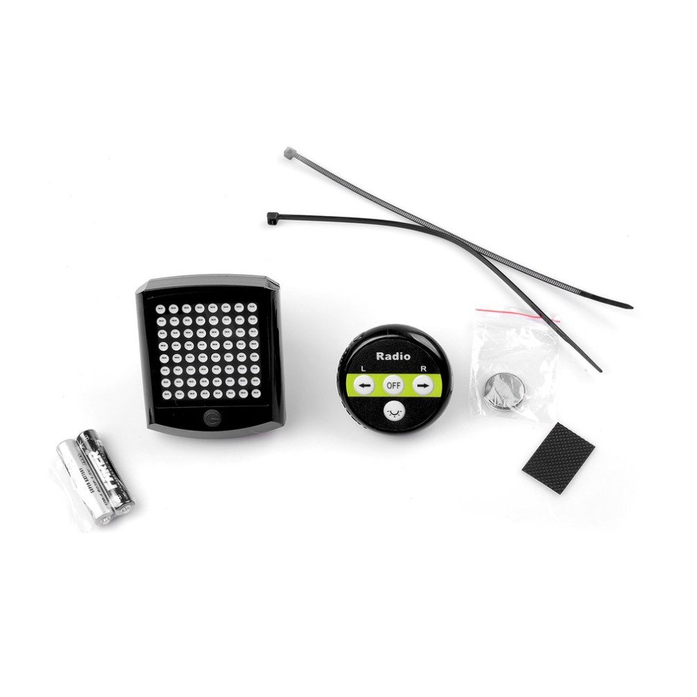 T603A Battery Powered Wireless Bicycle Tail Light 64 LED Bike Turn Signal Remote Control