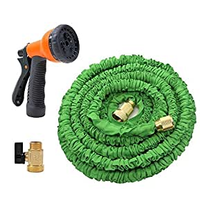ANTEQI 50 Feet Garden Hose / Expandable Thicken Hose with Brass Connectors and 8-Pattern Spray Nozzle For Dock Warehouse Garden Plant,Easy Home Storage