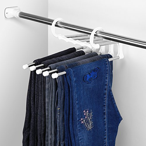 Albizia Julibrissin Space Saving Pants Hanger 5 in 1 Metal Non-slip Closet Hangers, Stainless Steel. by Alibizia Julibrissin