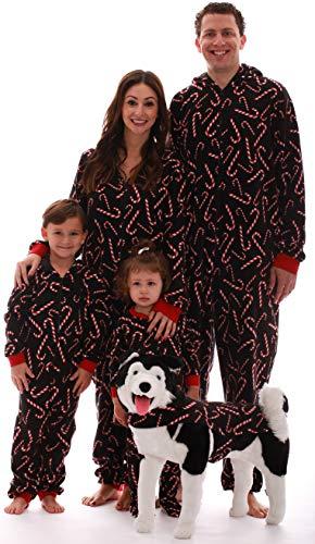 #followme Family Pajamas Candy Cane Microfleece Mens Adult Onesie 6754-10179-XL