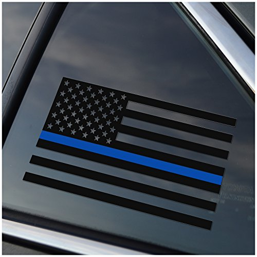 (Thin Blue Line Police Support Vinyl Car Window Decal Sticker)
