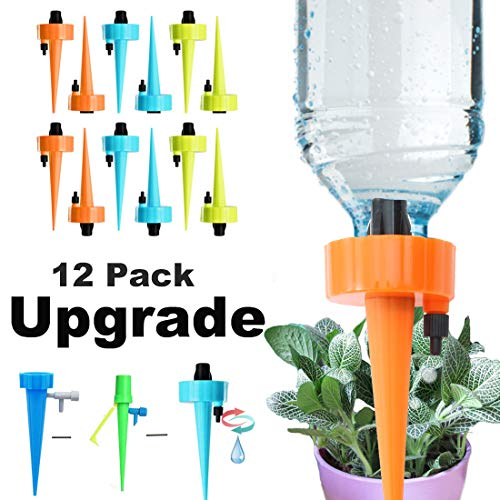 Uddiee 12 Packs Adjustable Self Watering Spikes Automatic Plant Waterer with Control Valve Watering Devices Vacation Drip Irrigation System for Indoor and Outdoor Plants (Automatic Plant Waterer)