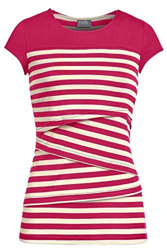 Milk Nursingwear Striped Solid Yoke Nursing Top (S, Coral)