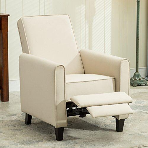 Belleze Modern Living Room Furniture Design Recliner Club Linen Chair Accent, Beige Microfiber Club Chair