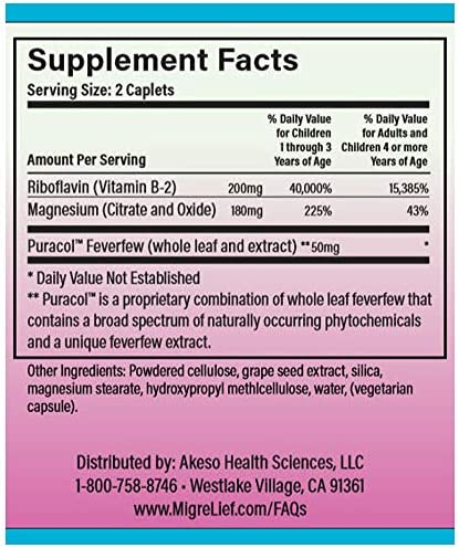 Amazon.com: Children's MigreLief® - Triple Therapy with Puracol™ -  Nutritional Support for Pediatric Migraine Sufferers - 60 Caplets/1 Month  Supply: Health & Personal Care