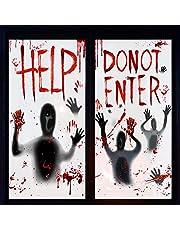 Halloween Zombie Decoraties, Halloween Window Clings, 2 PCS Indoor Scary Bloody Decorations, Indoor Scary Halloween Decorations voor Halloween Home Party Decoration, 155cm * 77cm