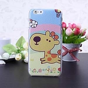 WQQ caso duro de la jirafa de dibujos animados patrón de litchi textura plástica para el iphone 6