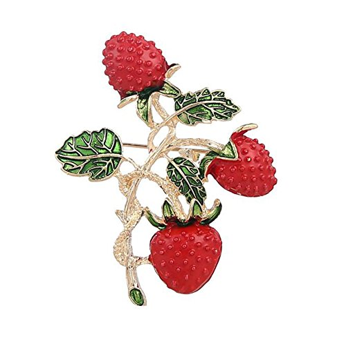 (Hosaire Brooch Pin Sweet Strawberry Scarf Pin Rhinestones Breastpin for Wedding/Banquet/Bouquet Christmas Gift)