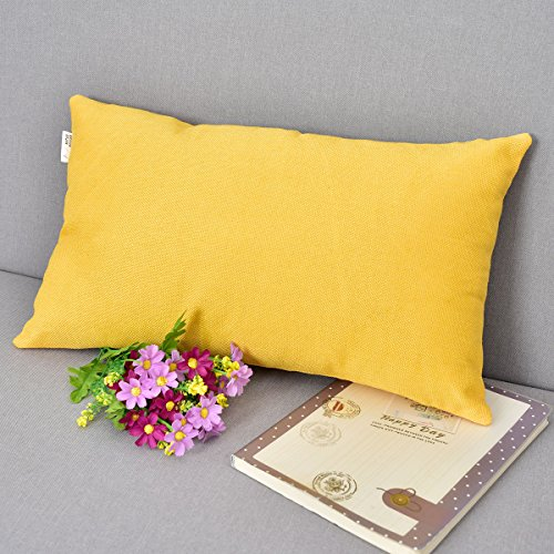 Oblong Accent Pillow (Natus Weaver Decor Oblong Lined Linen Square Throw Cushion Pillowcase Cover for Sofa, 12