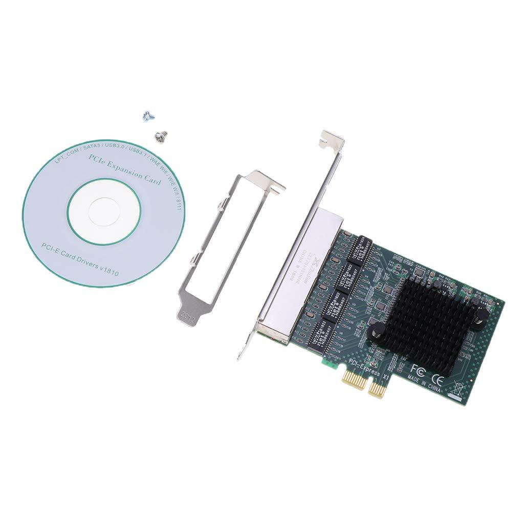 H HILABEE Tarjeta de Red PCIE Gigabit Chips RTL8111GX4 RJ-45 ...