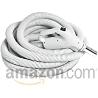 Electrified Gas Pump Handle Direct Connect Central Vacuum Hose, 35 Foot, Oyster White-Gray