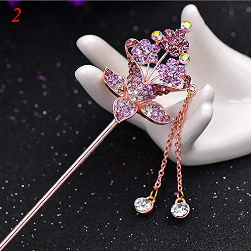 VT BigHome Charm Retro Women's Bobby Pin Flower Imitation Crystal Pendant Dangle Tassel Hairpin Hair Claw