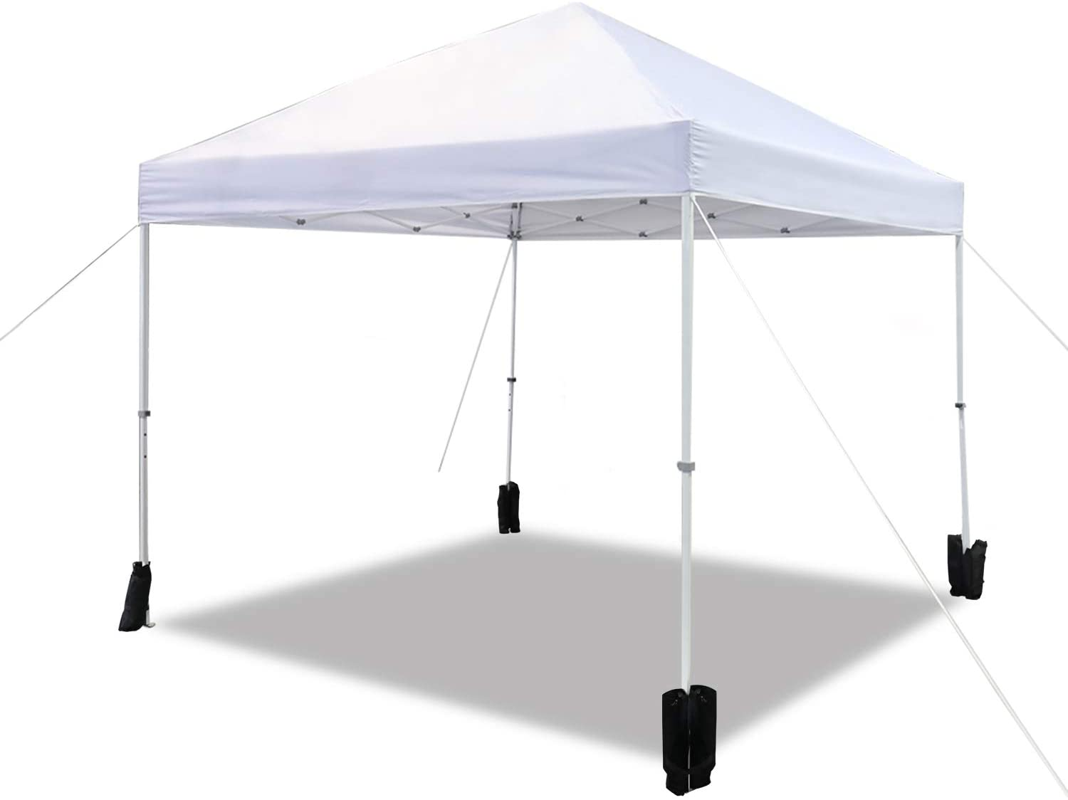 AmazonBasics Outdoor Classic Pop Up Canopy, 10ft x 10ft with Wheeled Carry, 4-pk weight bag, White