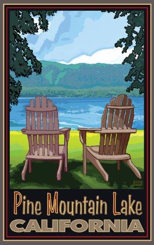 Northwest Art Mall Pine Mountain Lake Adirondack Chairs Artwork by Joanne Kollman, 11-Inch by - Lakes Mall Pines