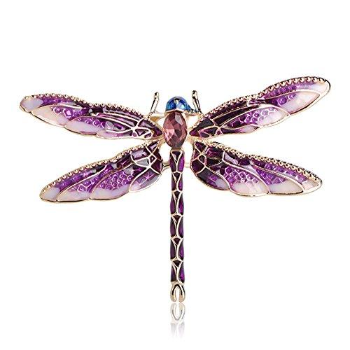 MINGHUA Pretty Enamel Red Blue Dragonfly Brooch Pin Charm Women Men Pin Jewelry (Purple) ()