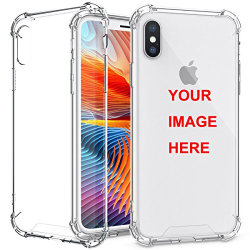 Moonlove iPhone X XS Customized Case, Personalized Custom Picture Photo HD Printed Cover Case for iPhone X/XS, Soft Thin Rubber Silicone Shock Absorbing Clear Protective Bumper Case, Birthday