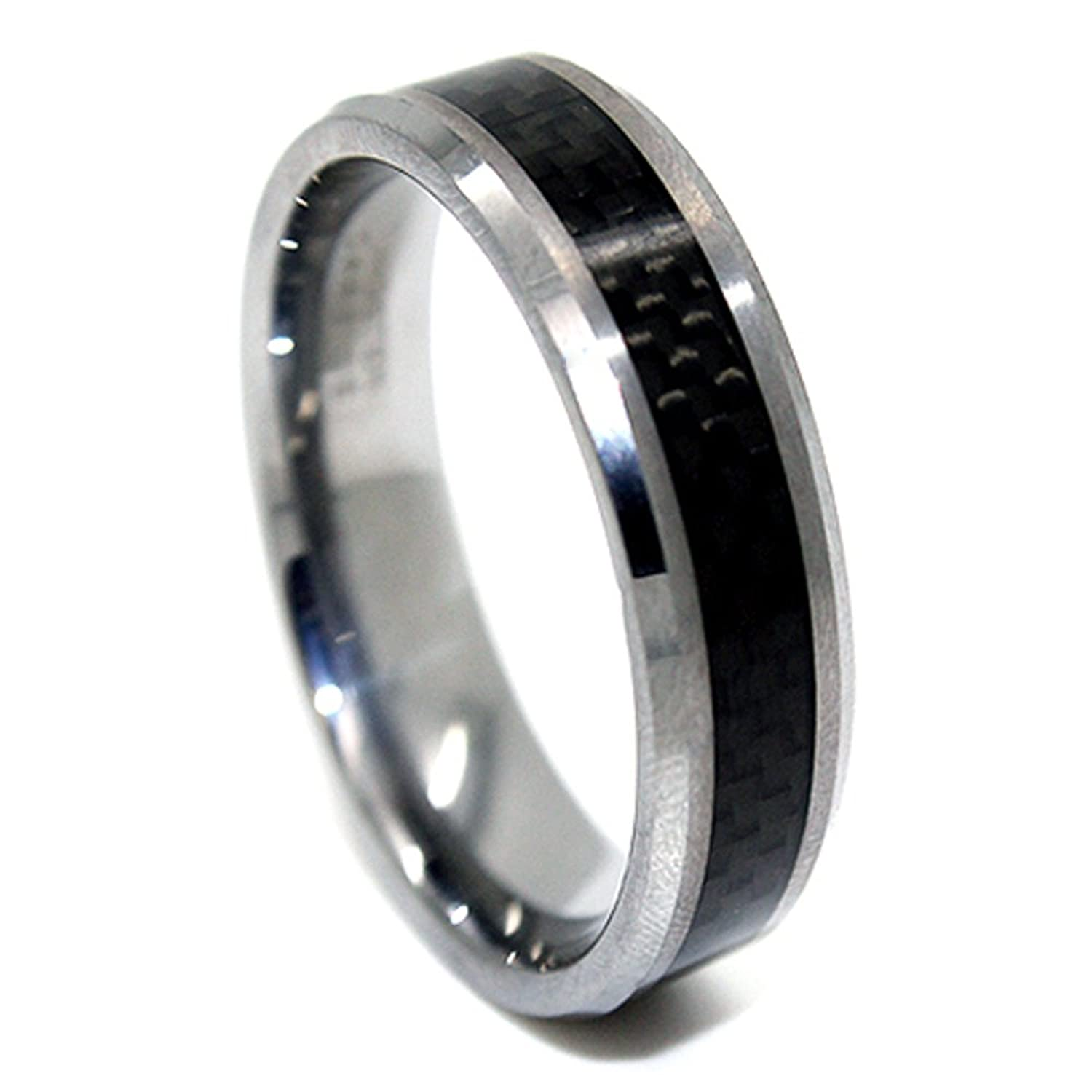 mens wedding of carbon ring sapphire new fiber rings