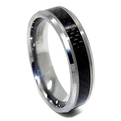 6mm tungsten carbide black carbon fiber wedding ring size 4 - Carbon Fiber Wedding Ring