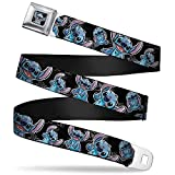 Buckle-Down Seatbelt Belt - Stitch Poses/Hibiscus Sketch Black/Gray/Blue - 1.5' Wide - 24-38 Inches in Length
