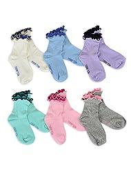 TeeHee Naartjie Kids Girls Cotton Double Ruffle Crew Socks 6 Pairs Pack
