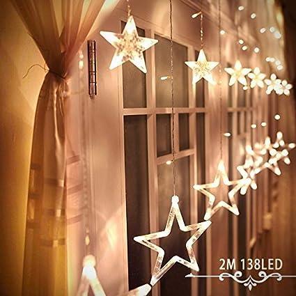 LED Star Curtain Lights Alanda Fairy 12 Stars 138 LEDs String With 8
