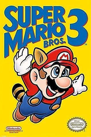 91.5 x 61cm Super Mario Bros. 3 Nes Cover Maxi Poster (Mario Bedroom Decor Furniture)