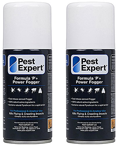 Cluster Fly Killer Fogger 2 x 150ml- Formula 'P+' Fly Fumigator from Pest Expert (HSE approved and tested – professional strength product)