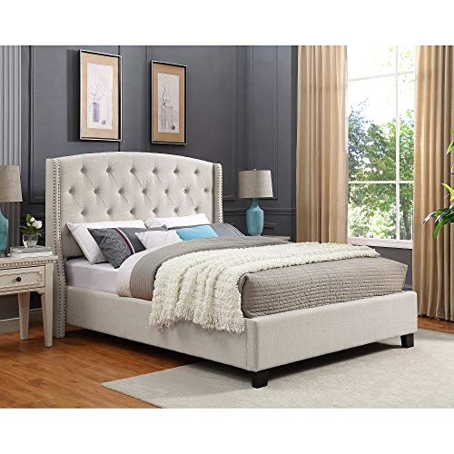 Roundhill Furniture B002K Nantarre Fabric Tufted Wingback Upholstered Bed with Nailhead Trim, King, - Fabric Bed Upholstered