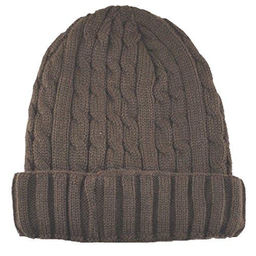 (Angela & William Cuffed Beanie Sweater Hat Thermal Insulation Brown )