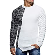 Taoliyuan Mens Ribbed Knitted Pullover Sweater Color Block Comfort Twisted Long Sleeves Sweaters