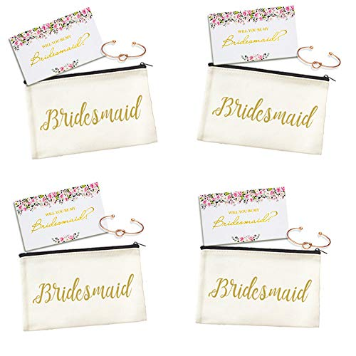 - Ibride Bridesmaid Canvas Cosmetic Pouches for Wedding Favors Rose Bracelets Fcard Set of 4