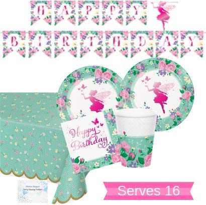 Fairy Birthday Party Supplies (Garden Fairy Party Supplies and Decorations - Fairy Party Plates and Napkins Cups for 16 People - Includes Fairy Birthday Banner and Garden Party Tablecloth - Perfect Fairy Birthday Party)