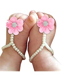 Baby Girl Pearl Chiffon Foot Flower Shoes Barefoot Sandals Black