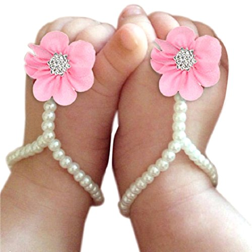 Infant Baby Girl Shoes (DZT1968 Baby Girl Pearl Chiffon Foot Flower Shoes Barefoot Sandals (Pink))