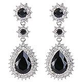 EleQueen Women's Austrian Crystal Dazzling Flower Tear Drop Wedding Dangle Earrings Silver-tone Black