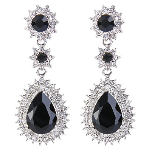 Drop Flower Earrings Crystal (EleQueen Women's Austrian Crystal Dazzling Flower Tear Drop Wedding Dangle Earrings Silver-tone Black)