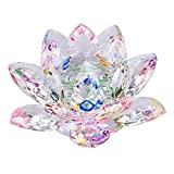 OwnMy Sparkle Crystal Lotus Flower Hue Reflection Feng Shui Home Decor with Gift Box (5 Inch/ 130MM)