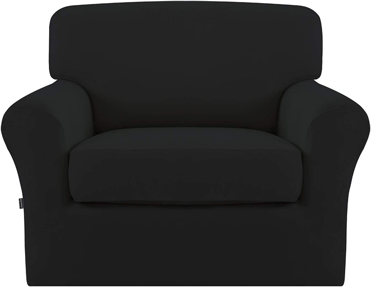 Easy-Going 2 Pieces Microfiber Stretch Couch Slipcover – Spandex Soft Fitted Sofa Couch Cover, Washable Furniture Protector with Elastic Bottom for Kids,Pet (Chair,Black)